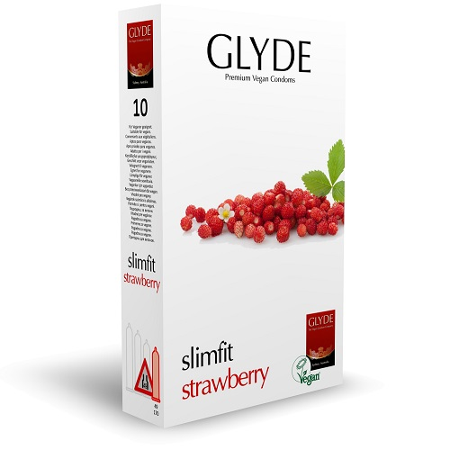 glyde slimfit strawberry condoms for protective sex