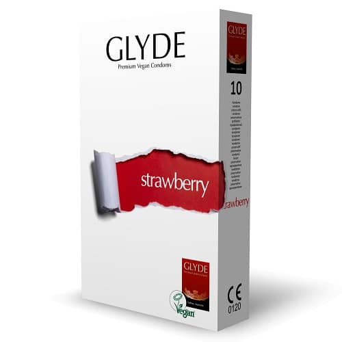 glyde strawberry - vegan condom for safe sex