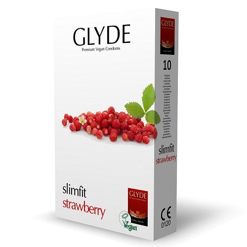 glyde slimfit strawberry condoms vegan condoms