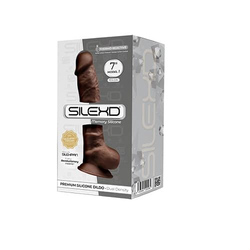 7 inch Realistic Silicone Dual Density Dildo with Suction Cup and Balls Brown